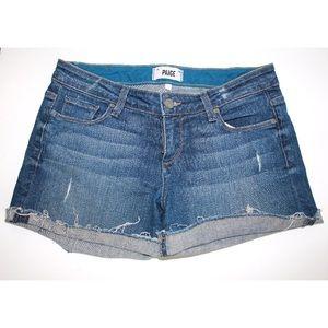 PAIGE 'Jimmy Jimmy' Distressed Cuffed Denim Shorts